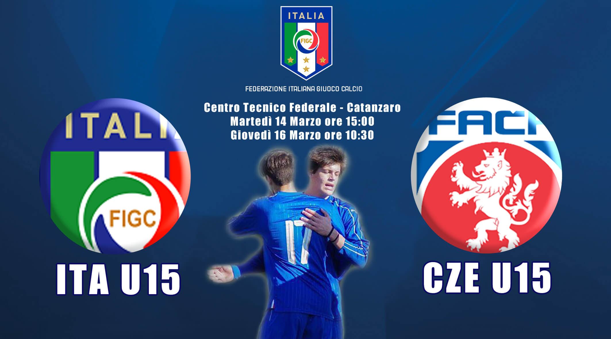 Locandina doppia amichevole Italia-Rep.Ceca Under 15
