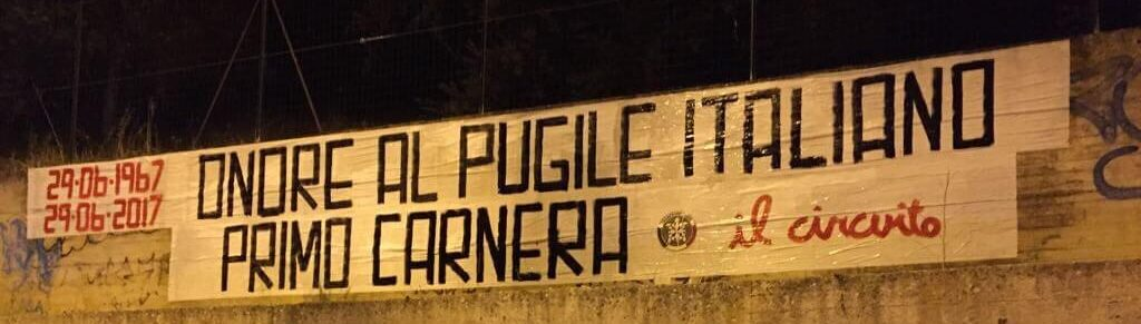 CasaPound commemora Primo Carnera - striscione in via Parco Caserta (RC)