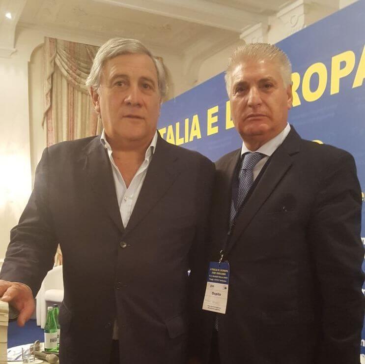 Il presidente del parlamento europeo Antonio Tajani e il consigliere comunale Mario Magno