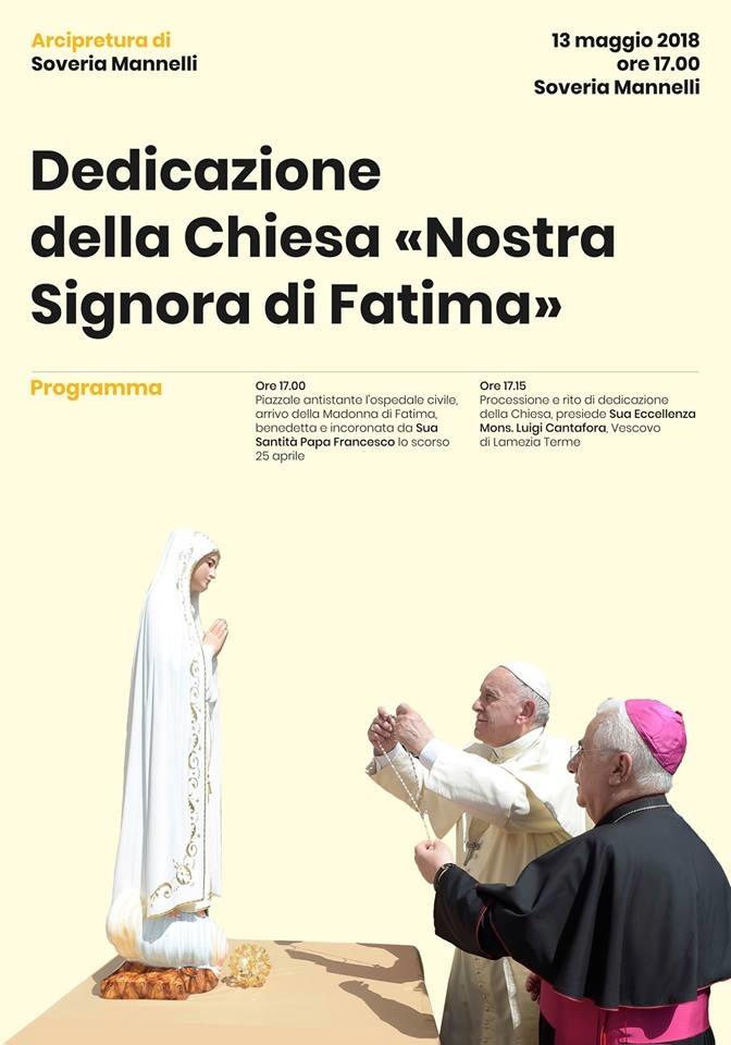 Il 13 maggio dedicazione della Chiesa di Soveria Mannelli alla Madonna di Fatima