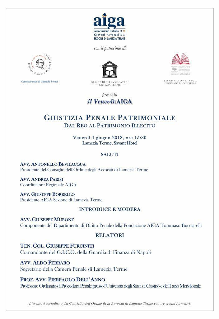Aiga, il 1 giugno l'incontro su Giustizia Penale Patrimoniale - Dal Reo al Patrimonio Illecito