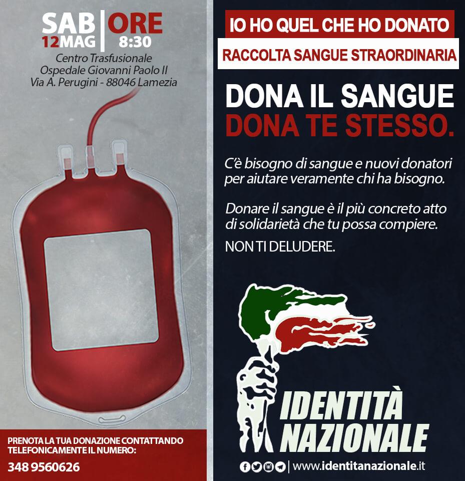 Lamezia, il 12 maggio raccolta sangue promossa da Identità Nazionale