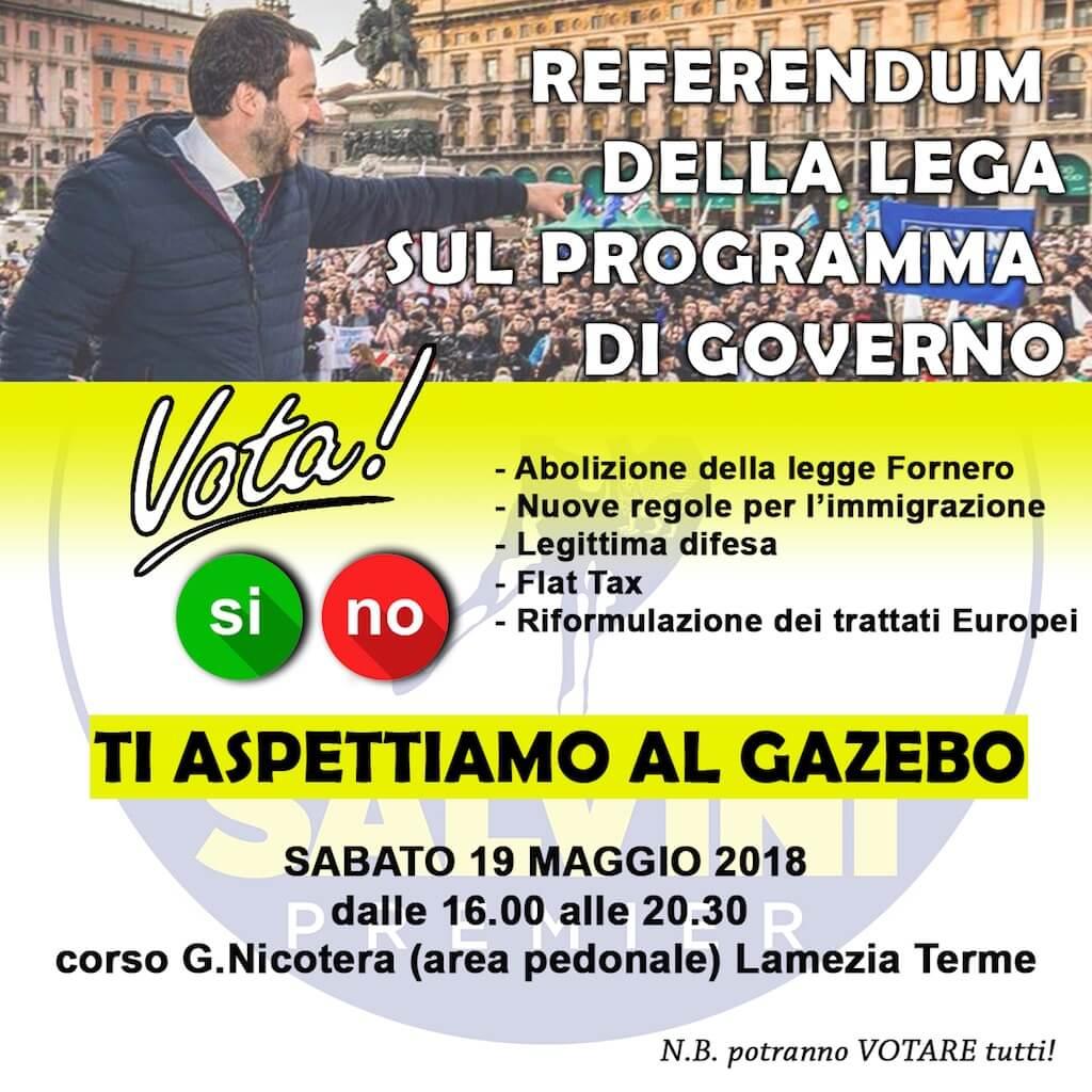 Lega: al gazebo per votare si/no sul programma di governo
