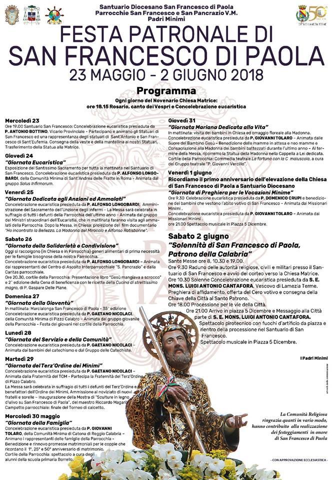 Al via il novenario di preparazione alla festa di San Francesco di Paola