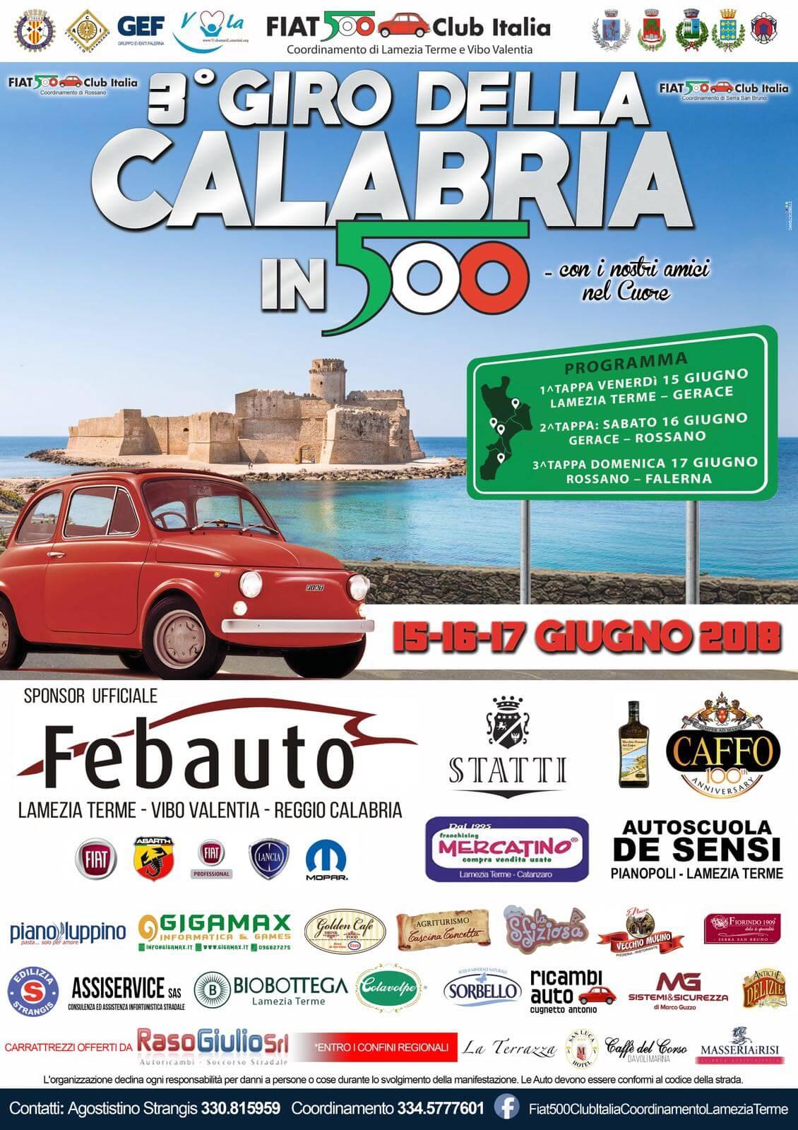 Giro della Calabria in 500. Il 15 giugno il via alla terza edizione