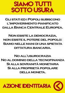 Azione Identitaria. Banchetto informativo sulla sovranità monetaria