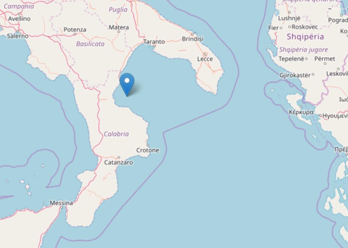 Terremoto di magnitudo 2.7 al largo della Costa Ionica Cosentina
