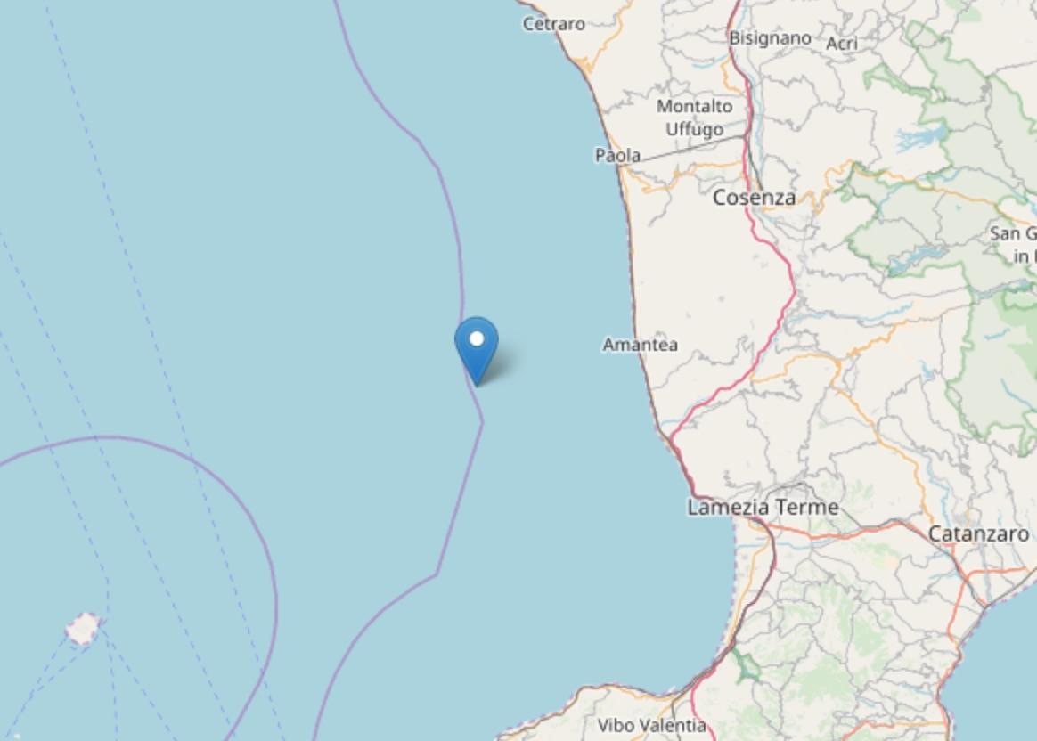 Terremoto di magnitudo 2.7 al largo della Costa Calabra nord occidentale