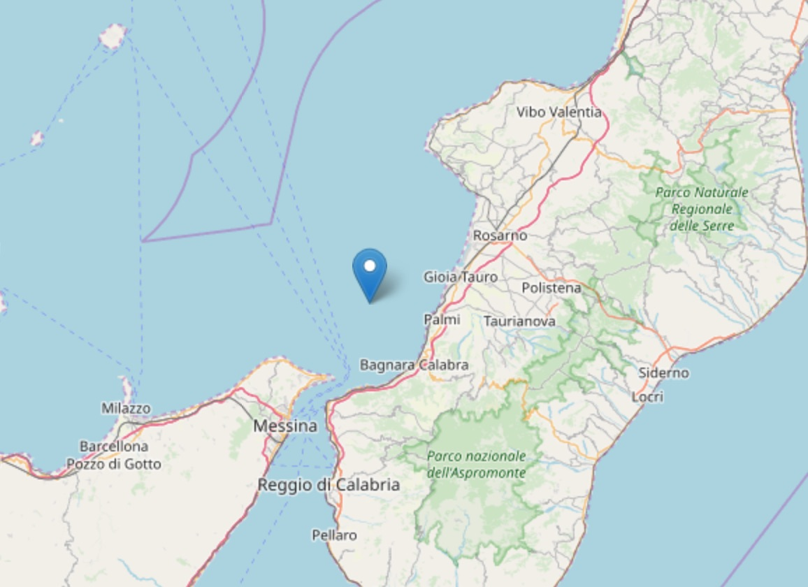 Nuovo Terremoto costa calabra sud occidentale