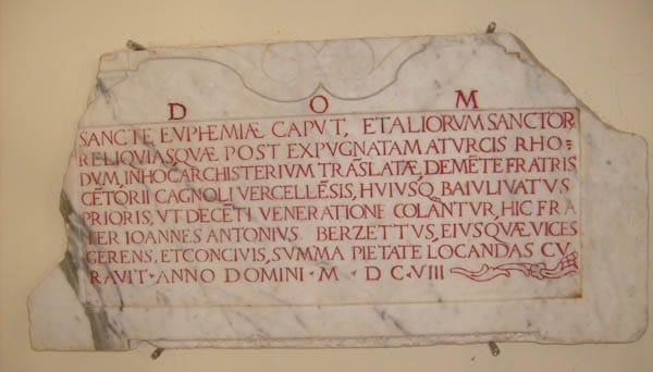 lastra marmorea di San Giovanni Battista