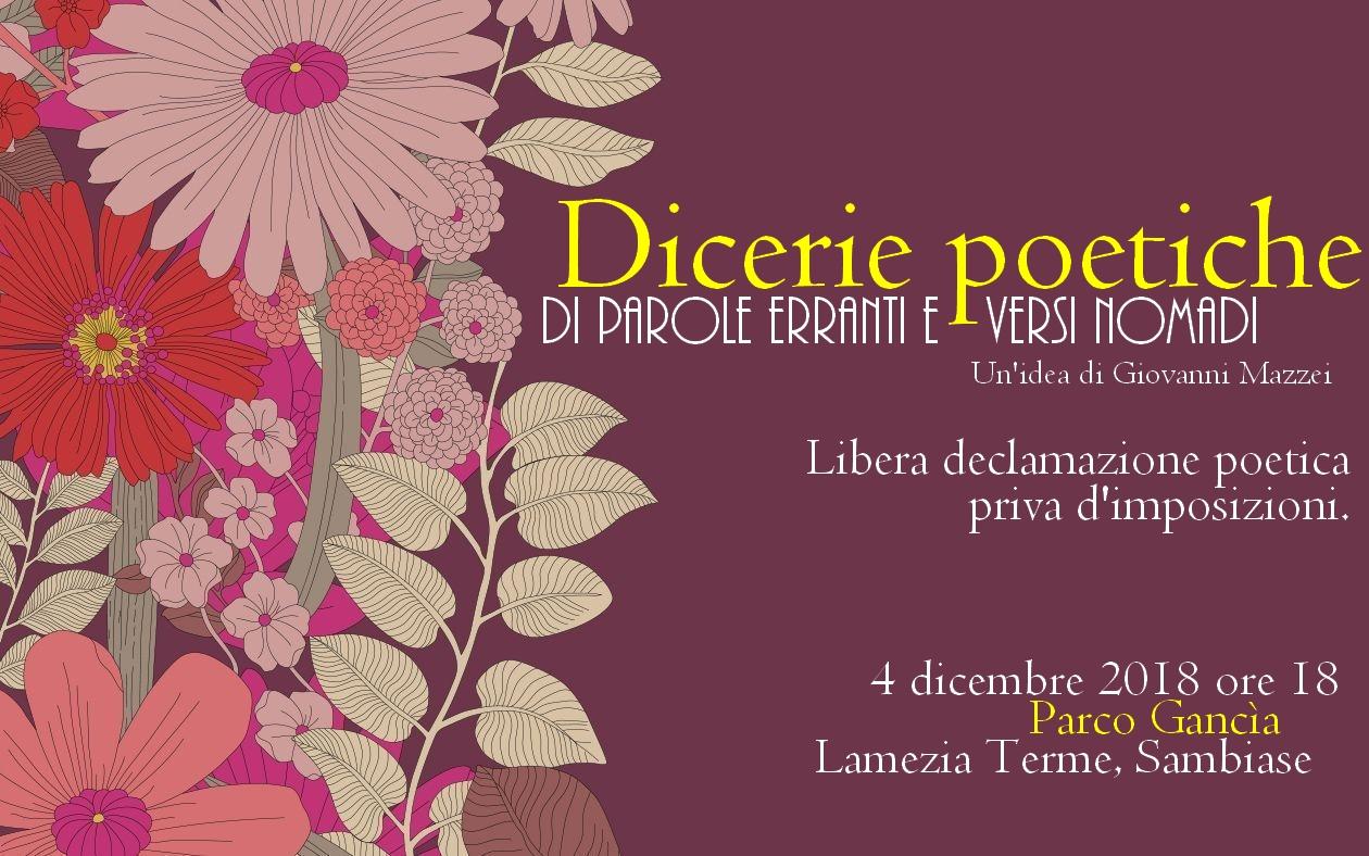 """locandina """"Dicerie Poetiche – Di parole erranti e versi nomadi"""""""