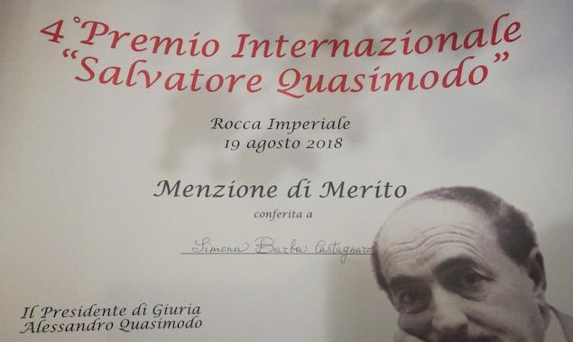 Simona Barba Castagnaro menzione di merito