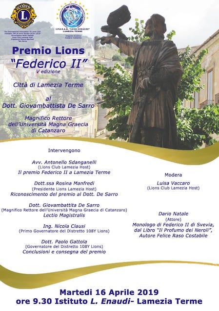"""Lamezia. Il 16 aprile all'Einaudi la quinta edizione del riconoscimento """"Federico II"""""""
