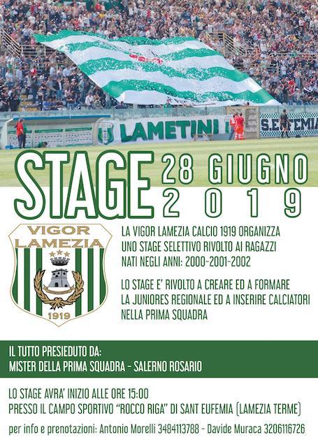 La Vigor Lamezia Calcio 1919 organizza uno stage selettivo