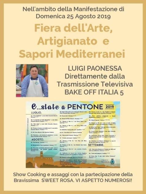 Luigi Paonessa di Bake Off Italia alla fiera dei sapori di Pentone