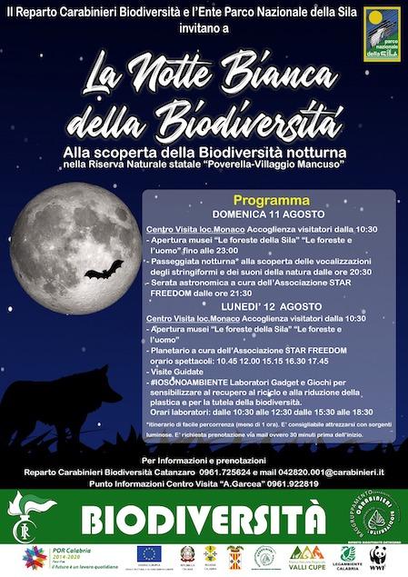 """""""La Notte Bianca della Biodiversità"""" in Sila promossa dai Carabinieri Forestali"""