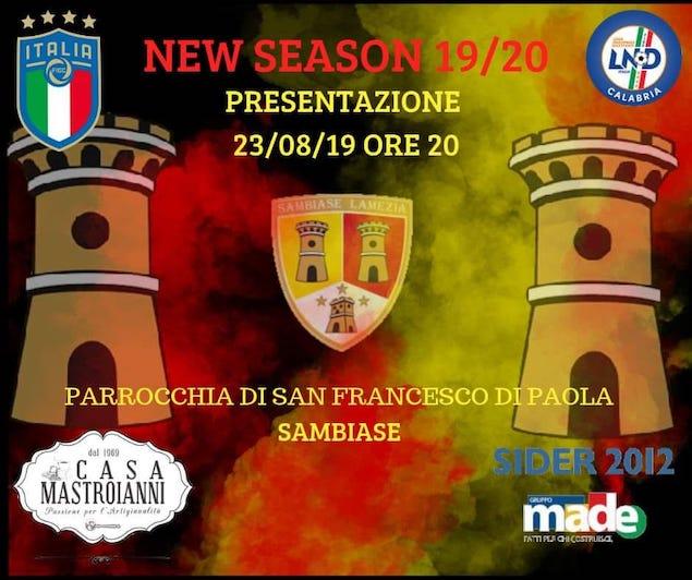 Sambiase, sabato 24 il debutto in Coppa Italia con l'Amantea