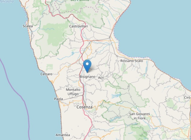 Terremoto di magnitudo 2.6 ML a Bisignano (CS)