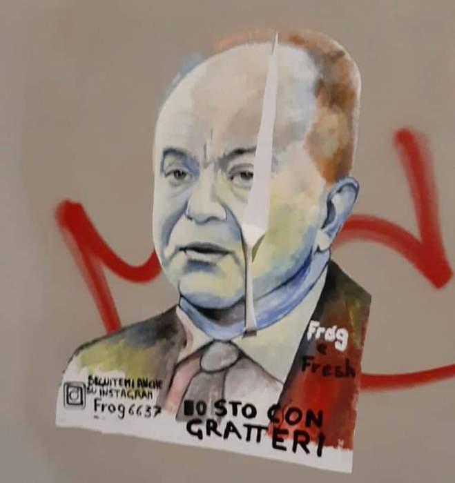 Crotone. Sfregiata opera street art pro Gratteri
