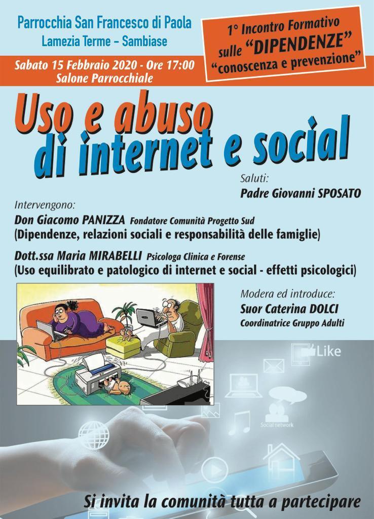 """Lamezia. Il 15 febbraio incontro sul tema """"Uso e abuso di internet e social"""""""