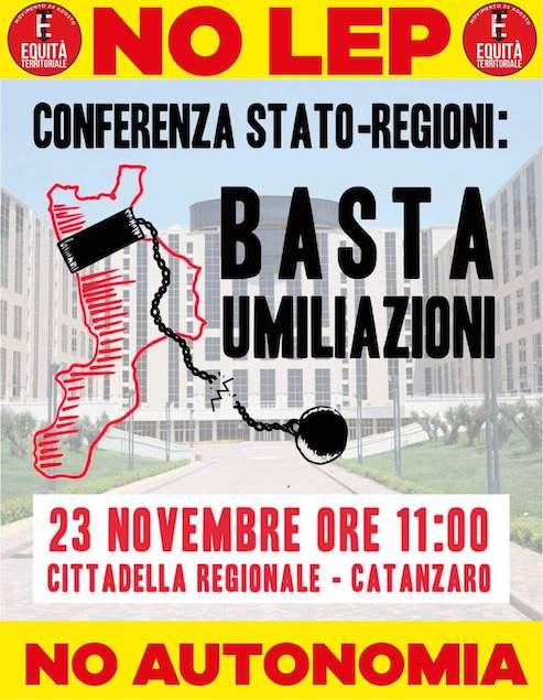 Il 23 novembre manifestazione di Equità Territoriale alla Cittadella Regionale