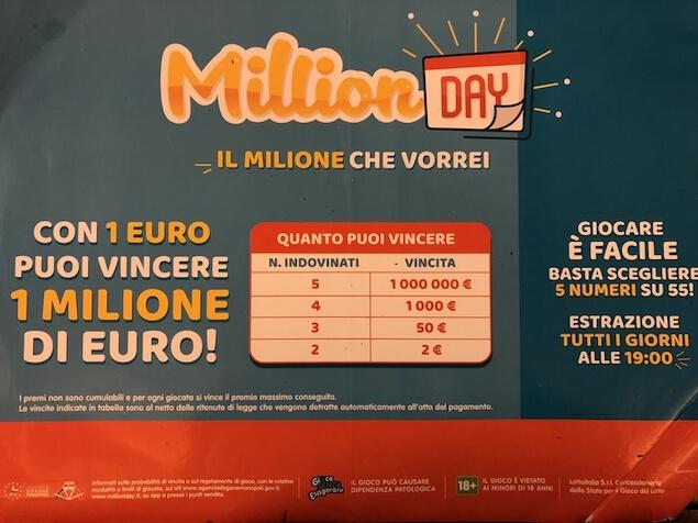 Giochi: vinto un milione a Rocca Imperiale a Million day