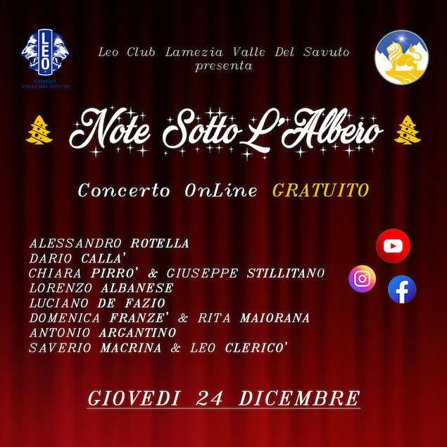Note sotto l'albero, concerto online del Leo Club Lamezia Valle del Savuto