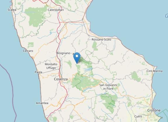 Terremoto: scossa di magnitudo ML 2.1 ad Acri (CS)
