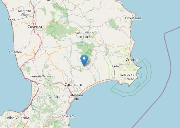 Terremoto: scossa di magnitudo ML 2.4 a Zagarise (CZ)