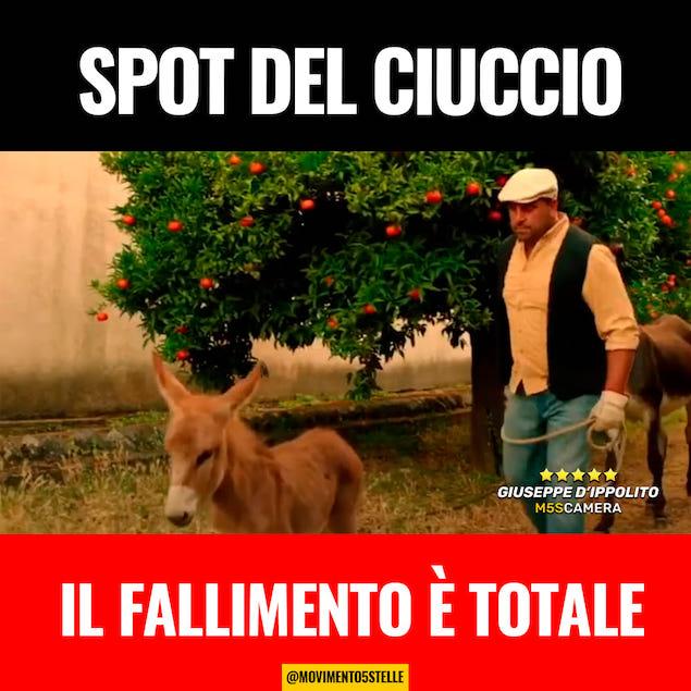 D'Ippolito (M5S): spot del ciuccio, il fallimento è totale!