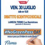 No Green Pass Day, la battaglia continua: il 30 luglio in piazza a Lamezia