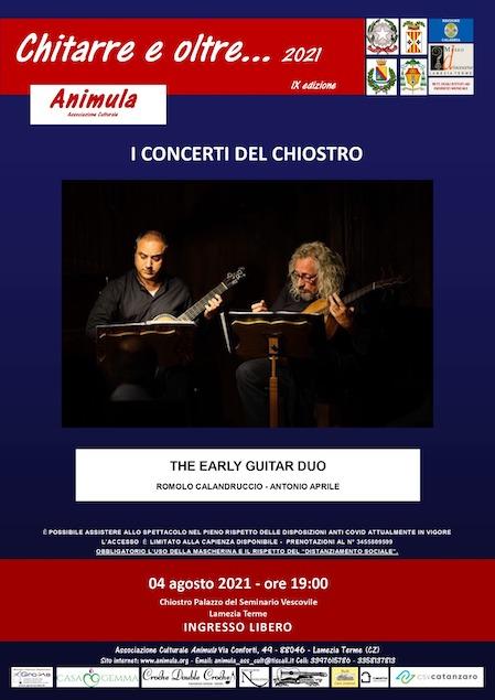 """Il 4 agosto al Chiostro del seminario """"The Early Guitar Duo"""""""