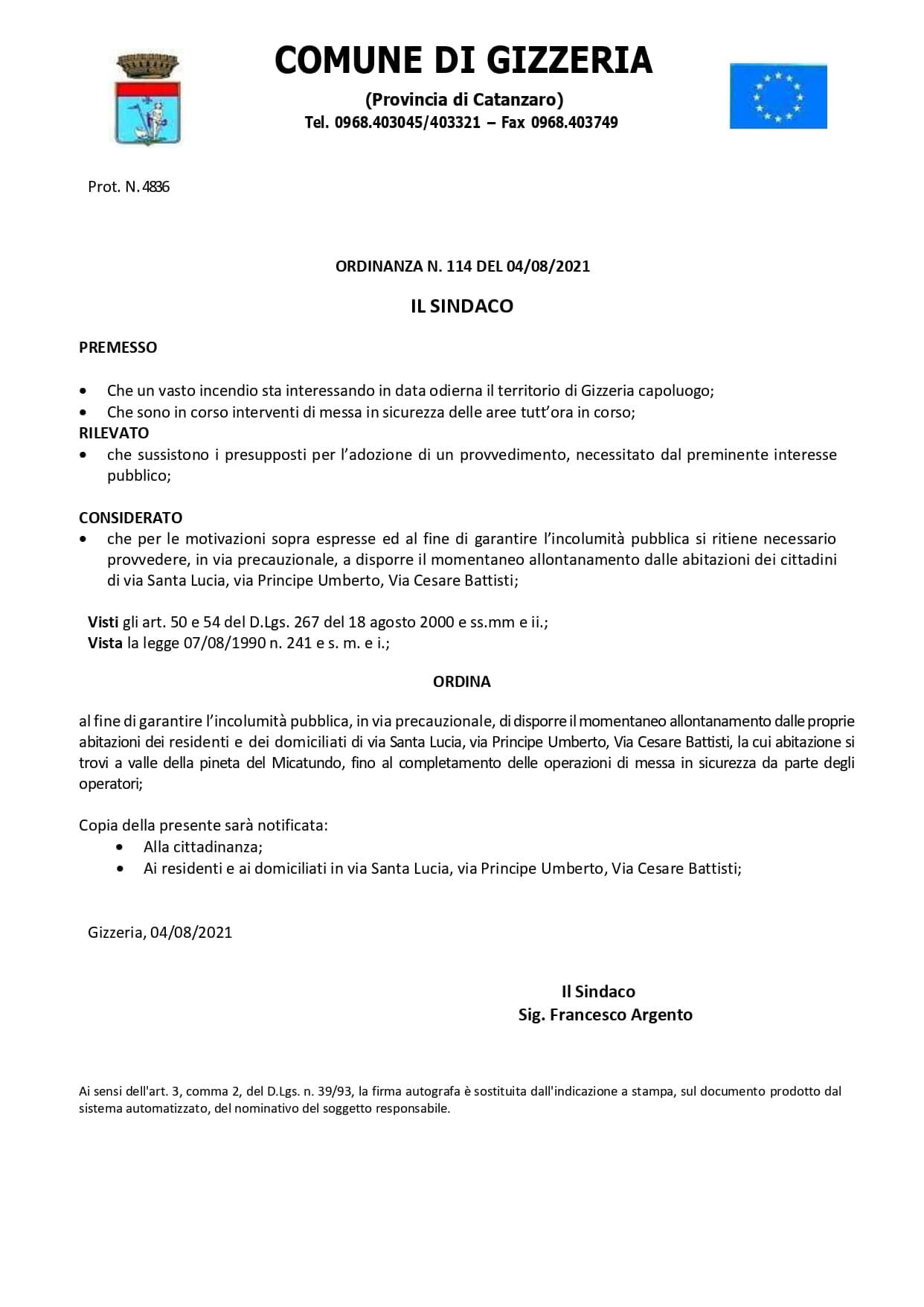 Incendio Gizzeria: ordinanza di allontanamento dalle abitazioni