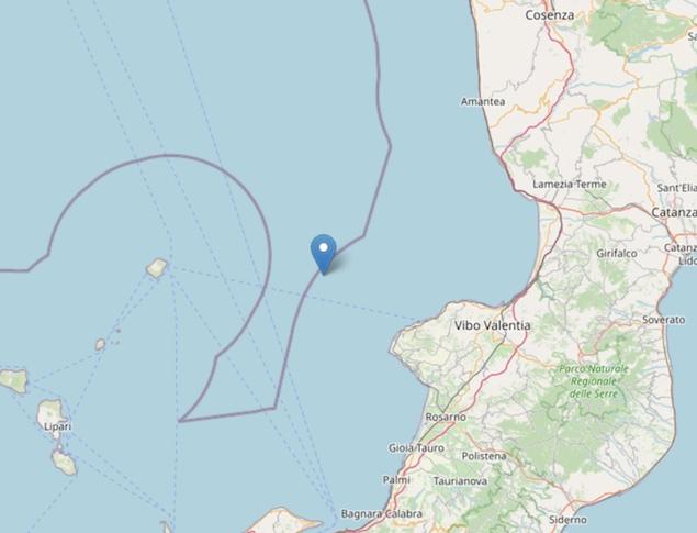 Terremoto di magnitudo ML 2.6 al largo della costa calabrese