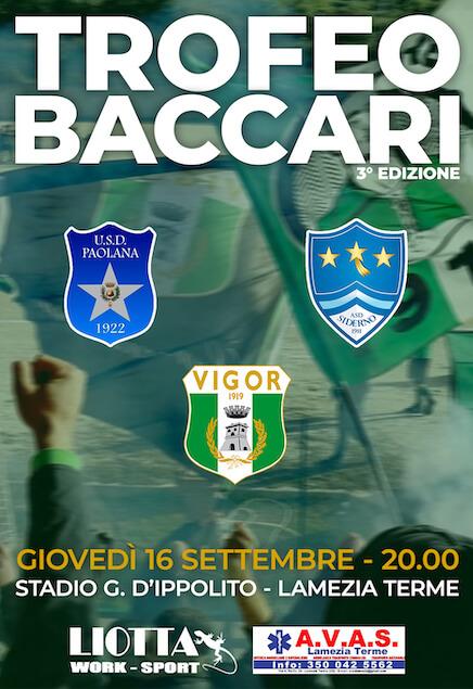 Giovedì 16 settembre la terza edizione del Trofeo Baccari
