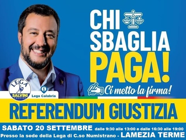 Lega Lamezia, sabato 18 raccolta firme Referendum Giustizia