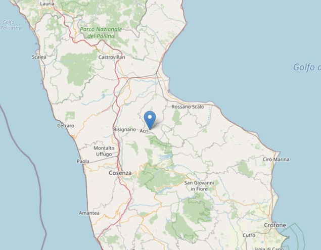 Terremoto: scossa di magnitudo ML 2.9 ad Acri (CS)