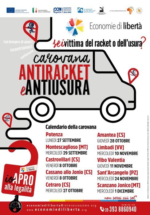 """Usura: il 27 settembre da Potenza la """"carovana antiracket"""""""
